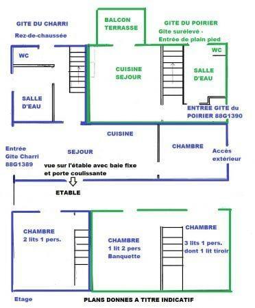 plan du gîte Poirier et Charri